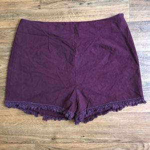 Very J Red Cotton Shorts Fringe Trim Lined NWOT